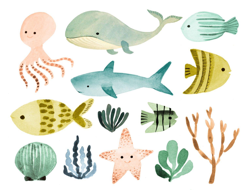 Ocean clipart, sea clipart,watercolor ocean clipart, ocean
