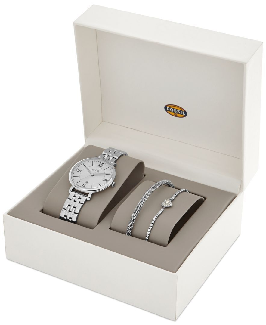 Fossil Women's Jacqueline Stainless Steel Bracelet Watch Set 36mm ES3698