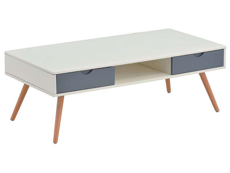 Table basse 4 tiroirs KIPO coloris blanc/ gris - Vente de Table