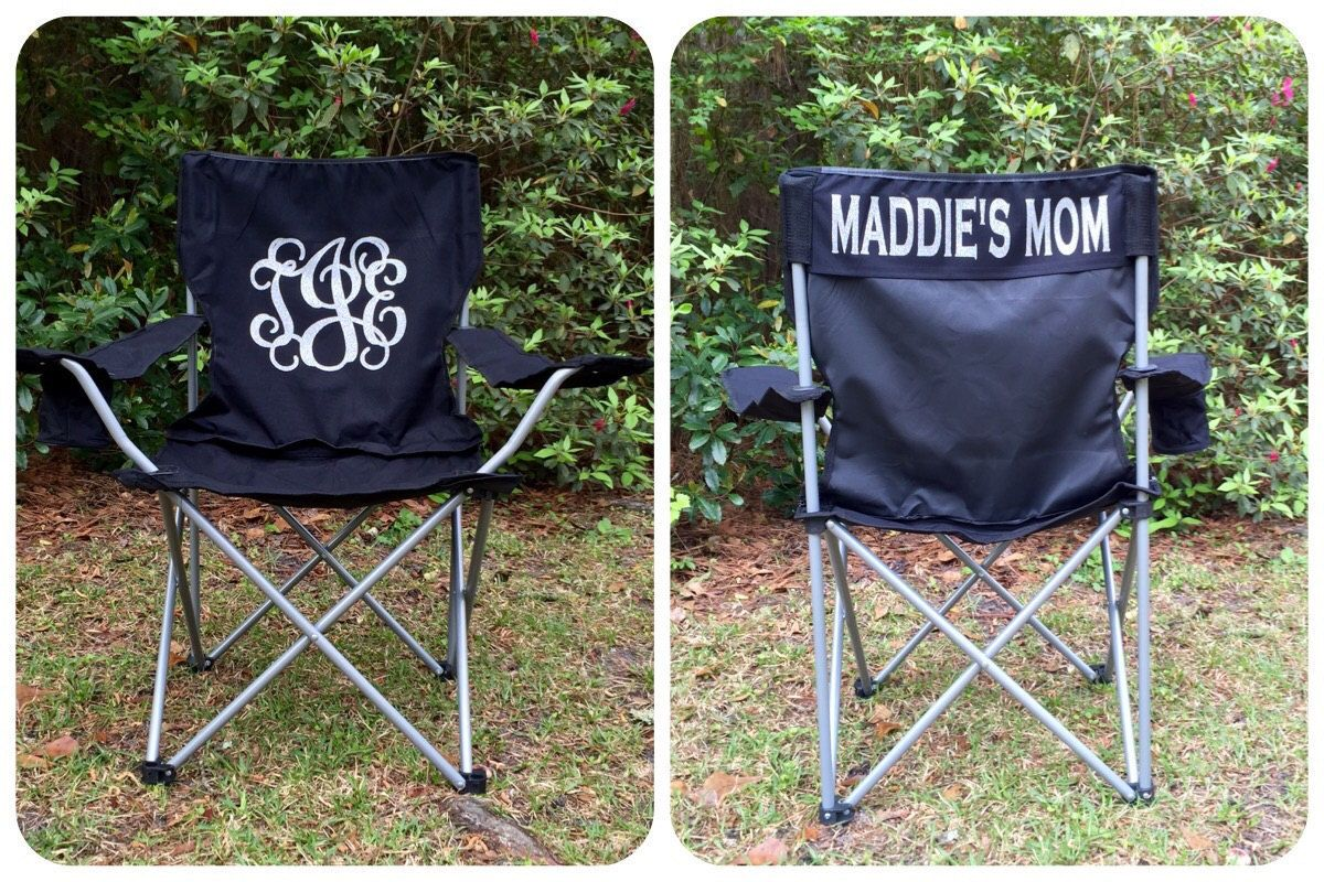 soccer mom covered chairs ikea kitchen tables and monogrammed folding chair softball baseball personalized by poshprincessbows1 on etsy