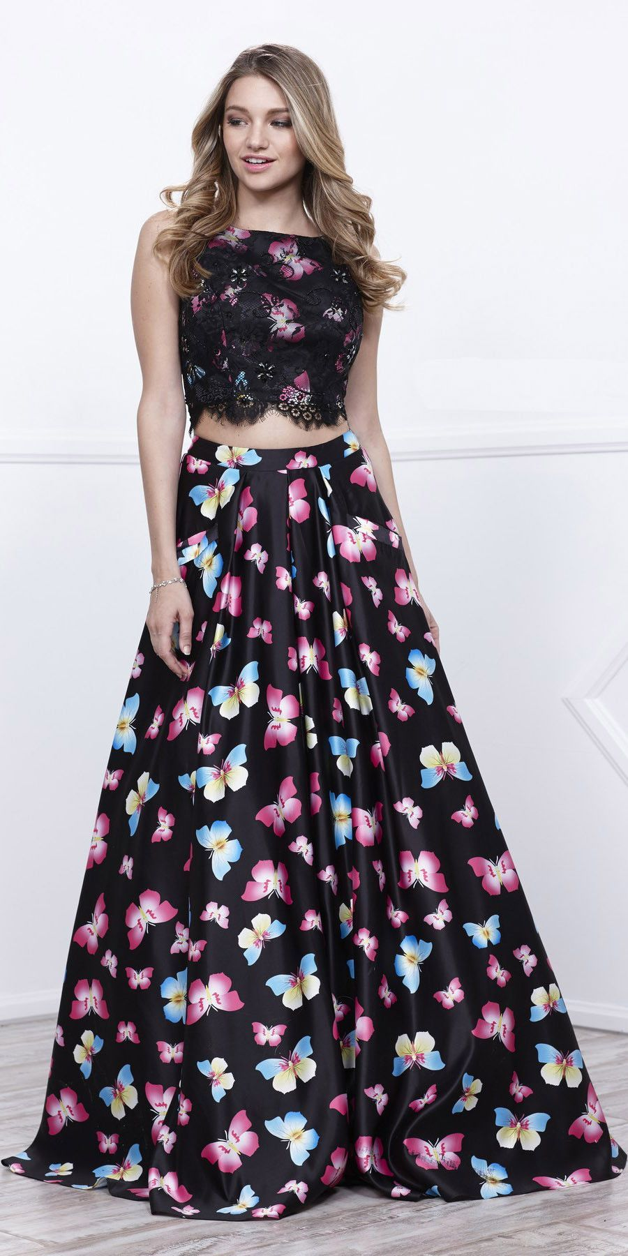 Two Piece Lace Sleeveless Black Butterfly Print Skirt Prom Gown Butterfly Print Skirt Butterfly Print Dress Prom Dresses Two Piece [ 1800 x 900 Pixel ]