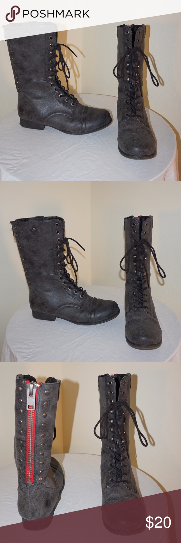 e0878cf4533 Steve Madden Girl Galeriaa Grey Combat Boots Tall grey combat boots with red  zipper in back