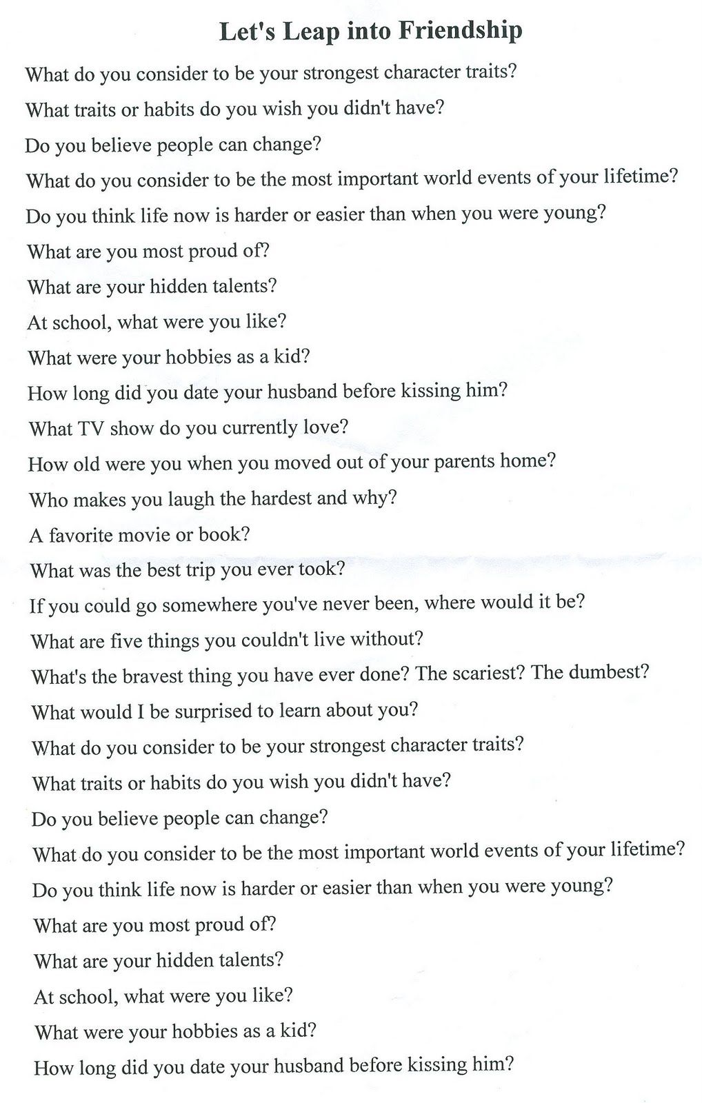 Speed dating questionnaire