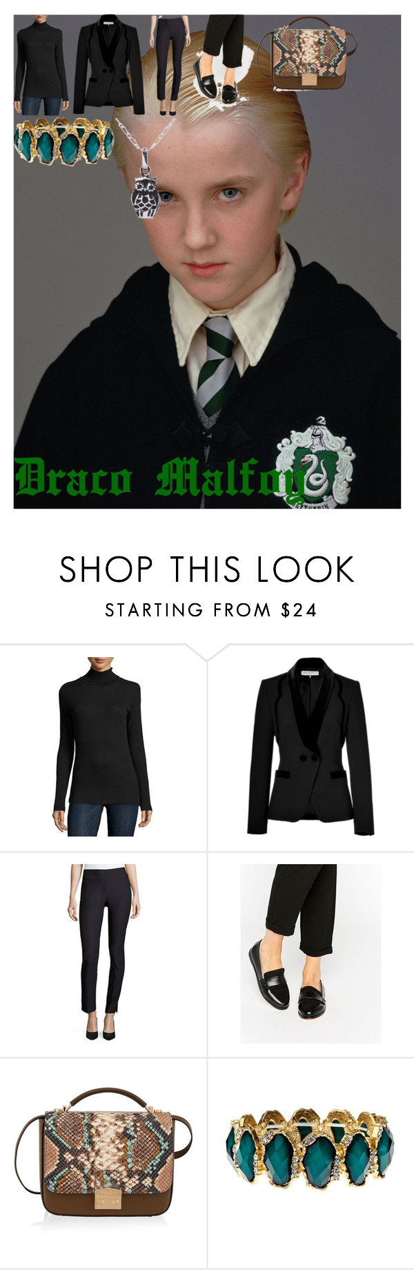 """""""Draco Malfoy"""" by oroartye-1 on Polyvore featuring Majestic Filatures, Emilio Pucci, NIC+ZOE, London Rebel, Henri Bendel, NOVICA, wearwhatyouwatch and film"""