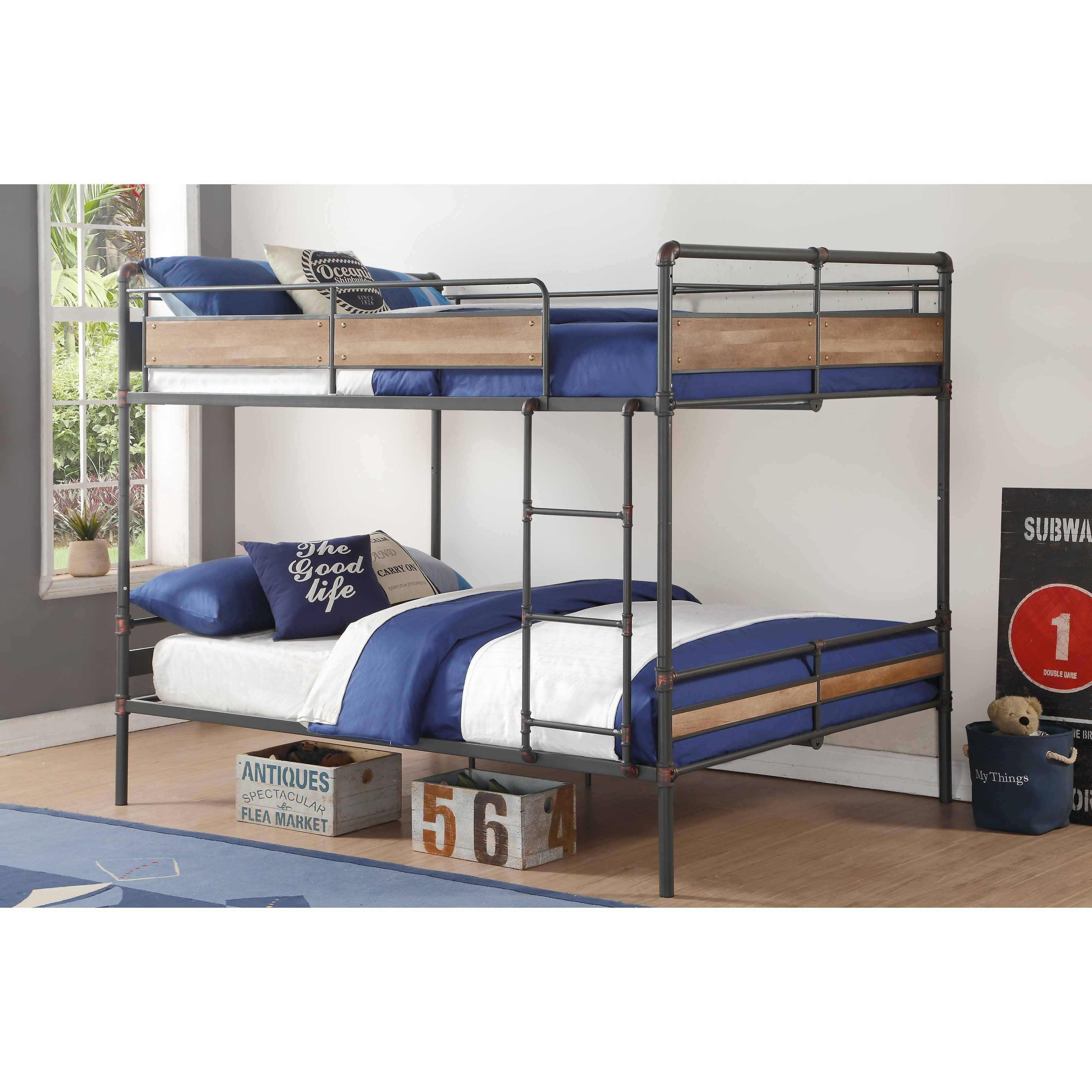 9f150acbc45e Acme Furniture Brantley II Queen Over Queen Bunk Bed - Sandy Black and  Silver - 37730