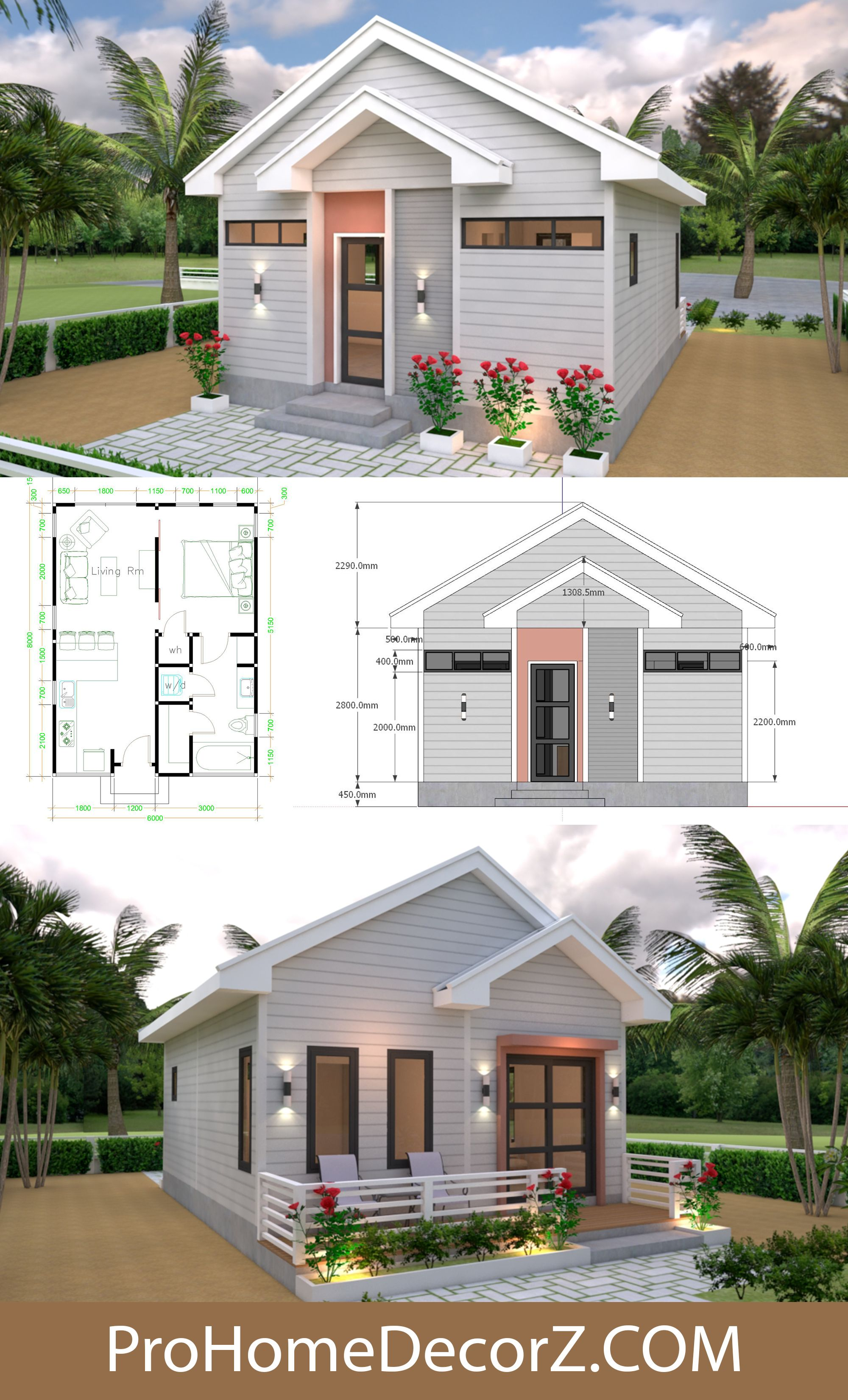 Small House Designs 6x8 Gable Roof Full Plans 48sq M Small House Design House Design Small House