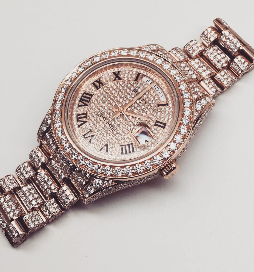 iced out 18k rose gold rolex daydate watch mens