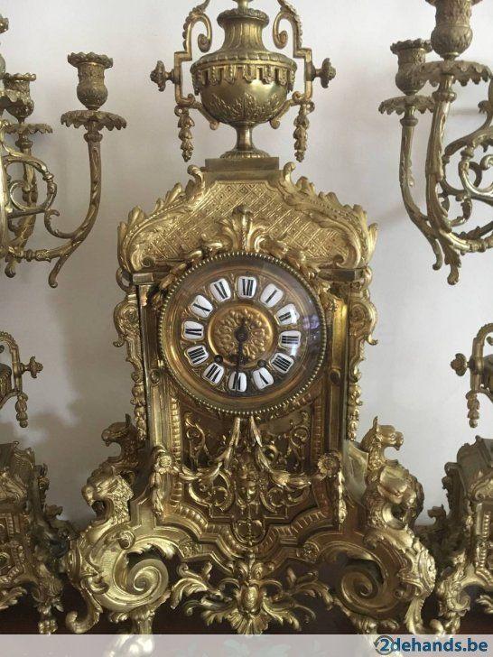 Antieke Bronzen Bel.Antieke Bronzen Klok Met Kandelaars Clocks Schouwgarnituren