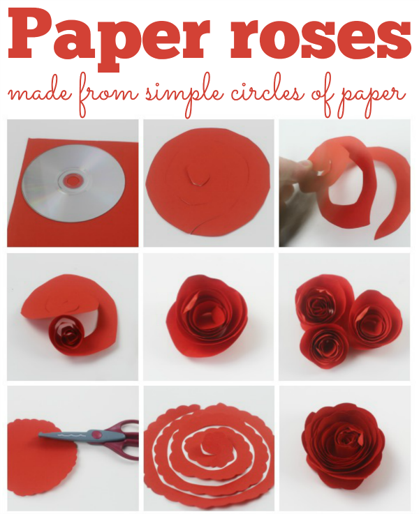 How to make simple paper roses and beautiful roses for mothers day paper roses these fab paper roses are made from just a circle of paper and are easy to make perfect for mothers day or a home made gift mightylinksfo