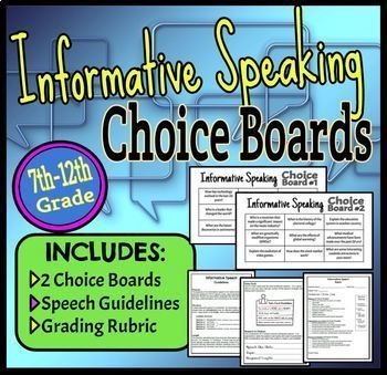 Informative Speaking Choice Boards Speech Guidelines  Rubric