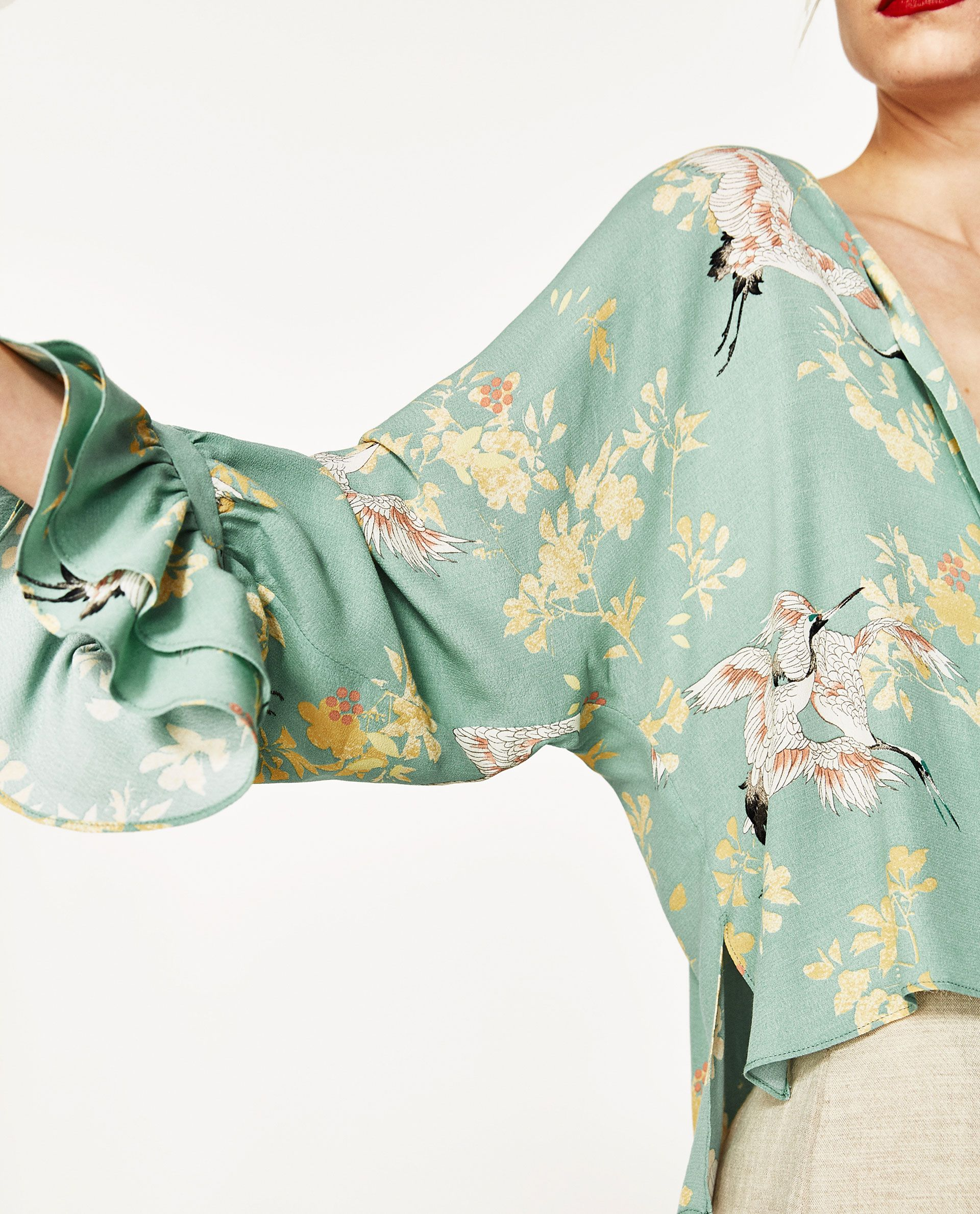 b8e733df45 Image 6 of BLOUSE WITH HERON PRINT from Zara | fashion inspiration ...