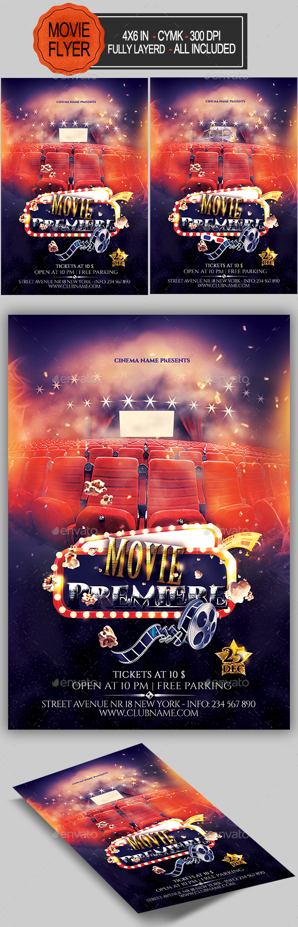 Premiere Movie Flyer — Photoshop PSD #premiere #oscar • Download ➝ https://graphicriver.net/item/premiere-movie-flyer/19180781?ref=pxcr