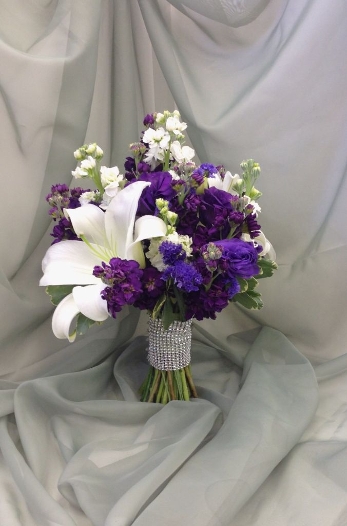 Purple And White Bridal Bouquet With Bling Stem Wrap By Nancy At