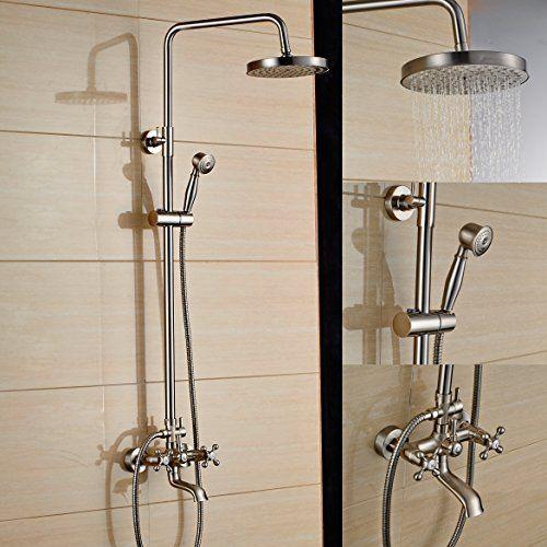 Marvelous Rozin Brushed Nickel Bath Shower Faucet Set Tub Mixer Tap 8 Inch Rain Shower  Head