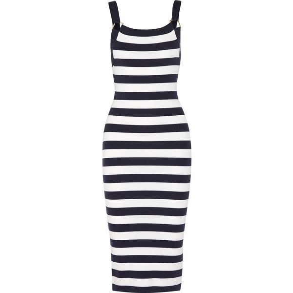 Michael Kors Collection Striped stretch merino wool-blend dress (729,445 KRW) ❤ liked on Polyvore featuring dresses, vestidos, my clothes, michael kors, striped dress, geo print dress, nautical stripe dress, blue stripe dress and stripe dresses