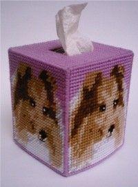 Shetland Sheepdog Dog Tissue Topper-Sheltie-Plastic Canvas Pattern or Kit