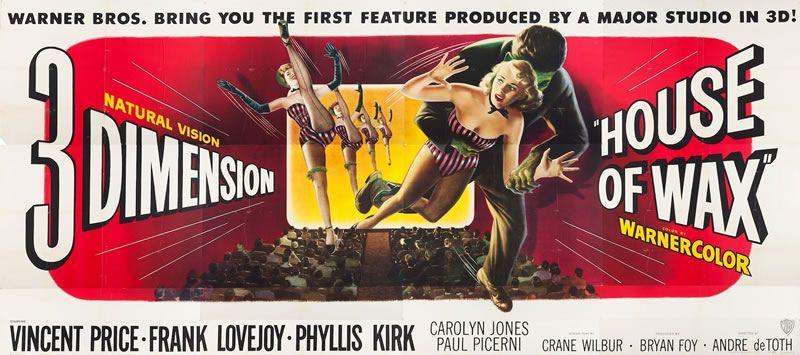 #UnDiaComoHoy 1953, EEUU, se estrena House of Wax, segunda película 3D de la historia, fue producida por Warner Bros