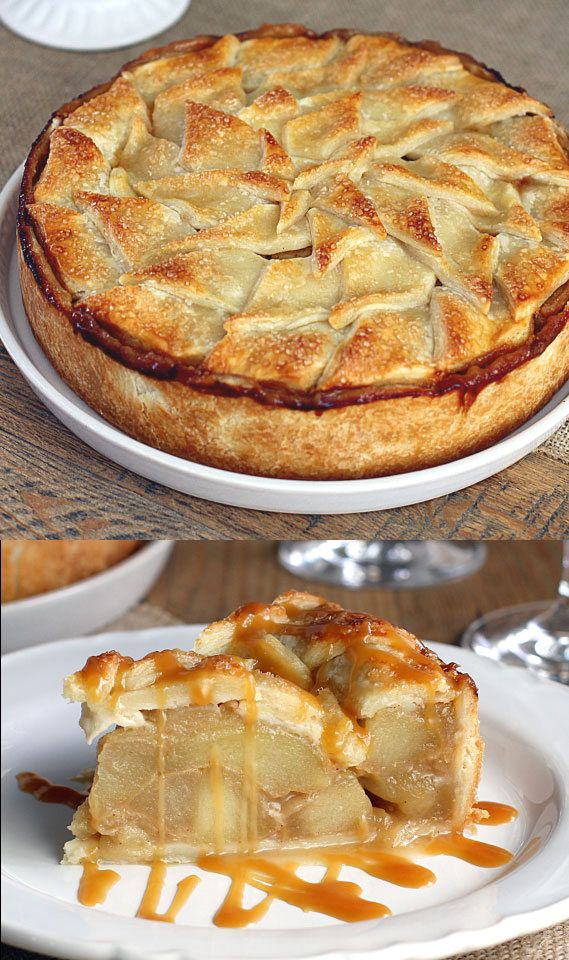 Salted Bourbon Caramel Apple Pie #applepie