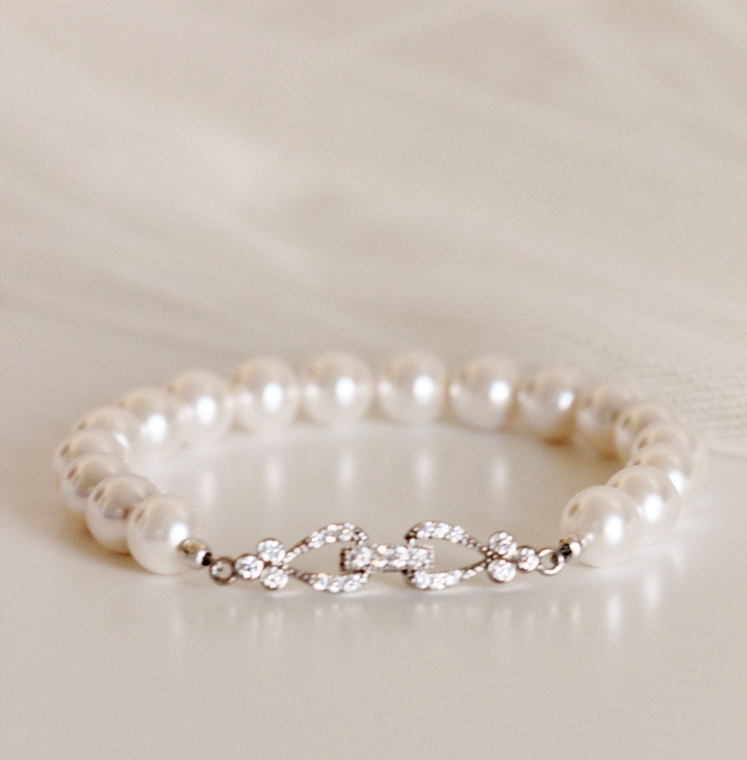 Bridal Bracelet Pearl Wedding Jewelry Bridesmaid Bracelet Gift