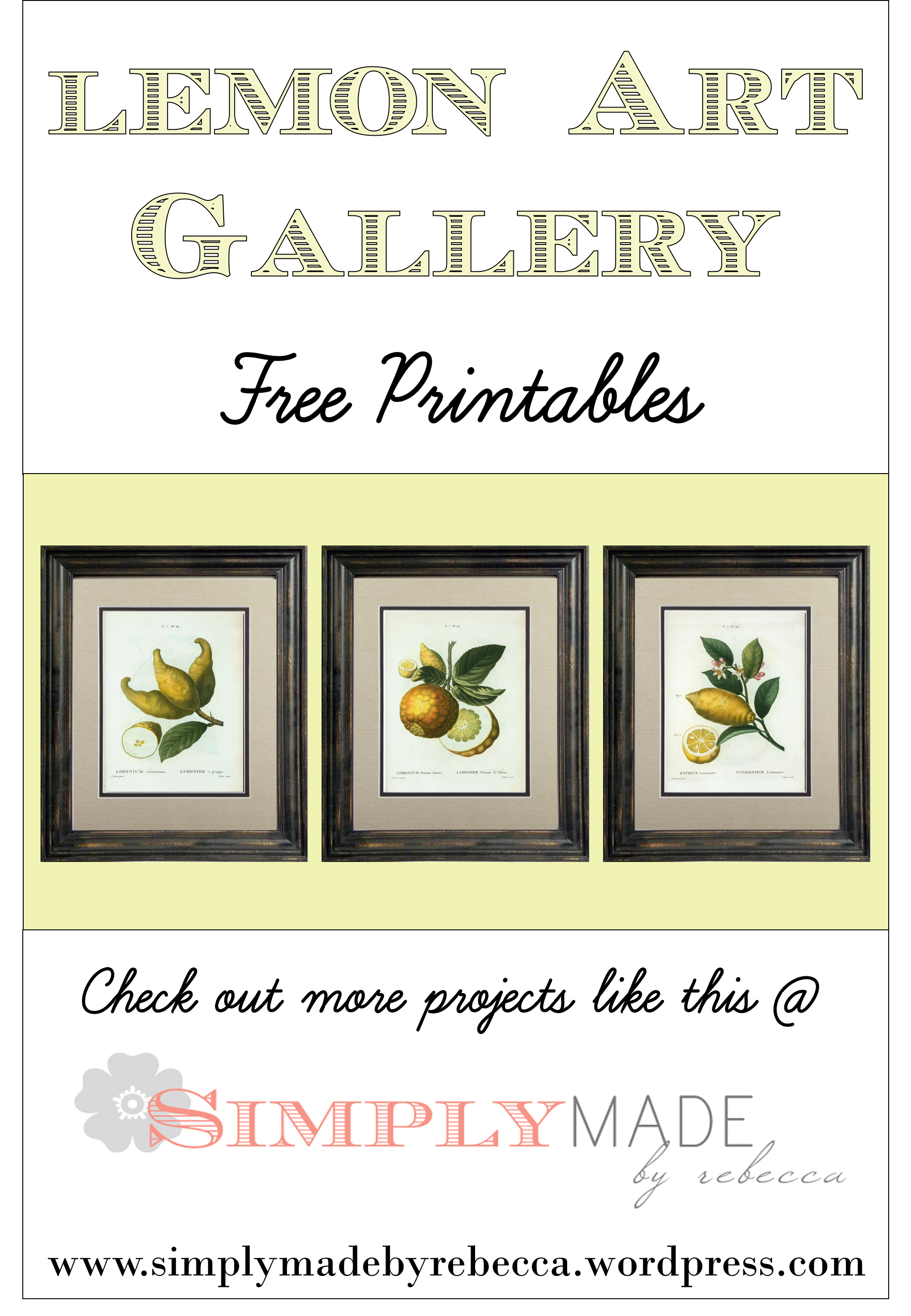 photograph regarding Free Printable Artwork to Frame referred to as Absolutely free Printable Lemon Artwork Basically Intended by means of Rebecca Lemon