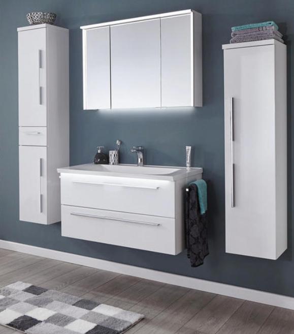 Badezimmermobel Set In Weiss Hochglanz Fur Den Perfekten Glamour In Ihrem Badezimmer Badezimmer Baden Badezimmerausstattung