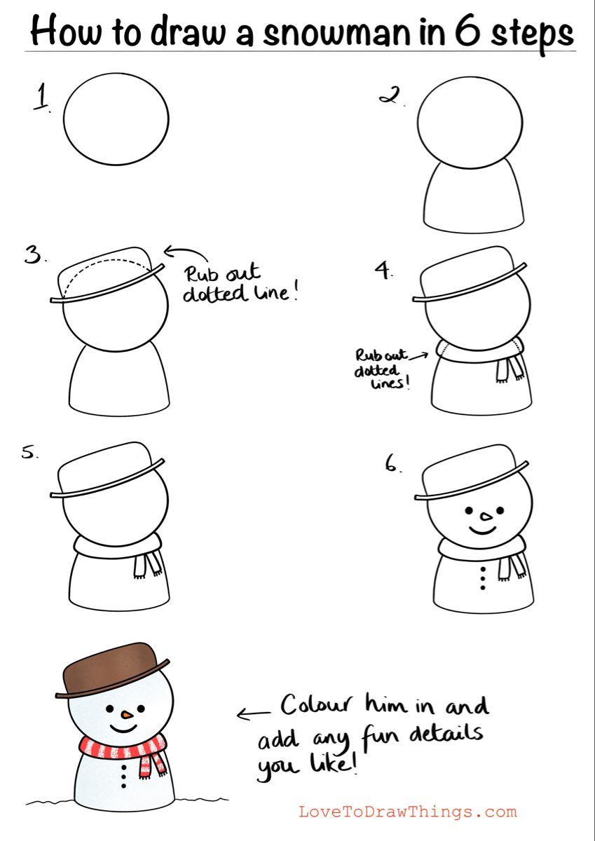 How to draw a snowman in 6 steps