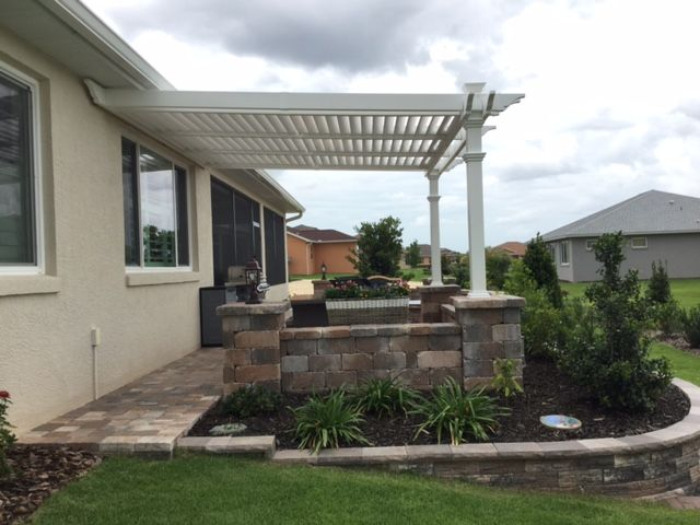 12x12 Elysium Attached Louvered Pergola Pergola Pergola Designs Louvered Pergola