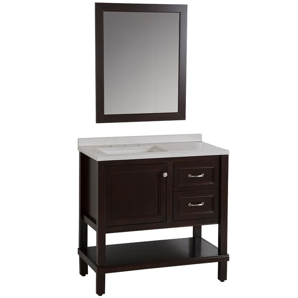 Home Decorators Collection Kimpson 36 5 In W Vanity In Chocolate