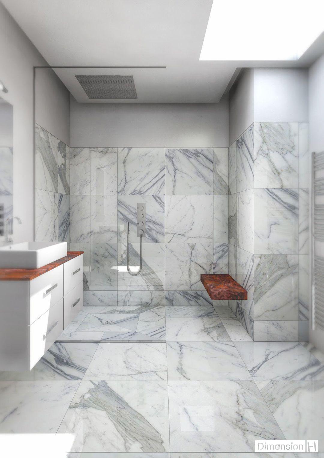 Salle de bains marbre Blanc Statuaire dalle 16 x 16 cm  Salle de