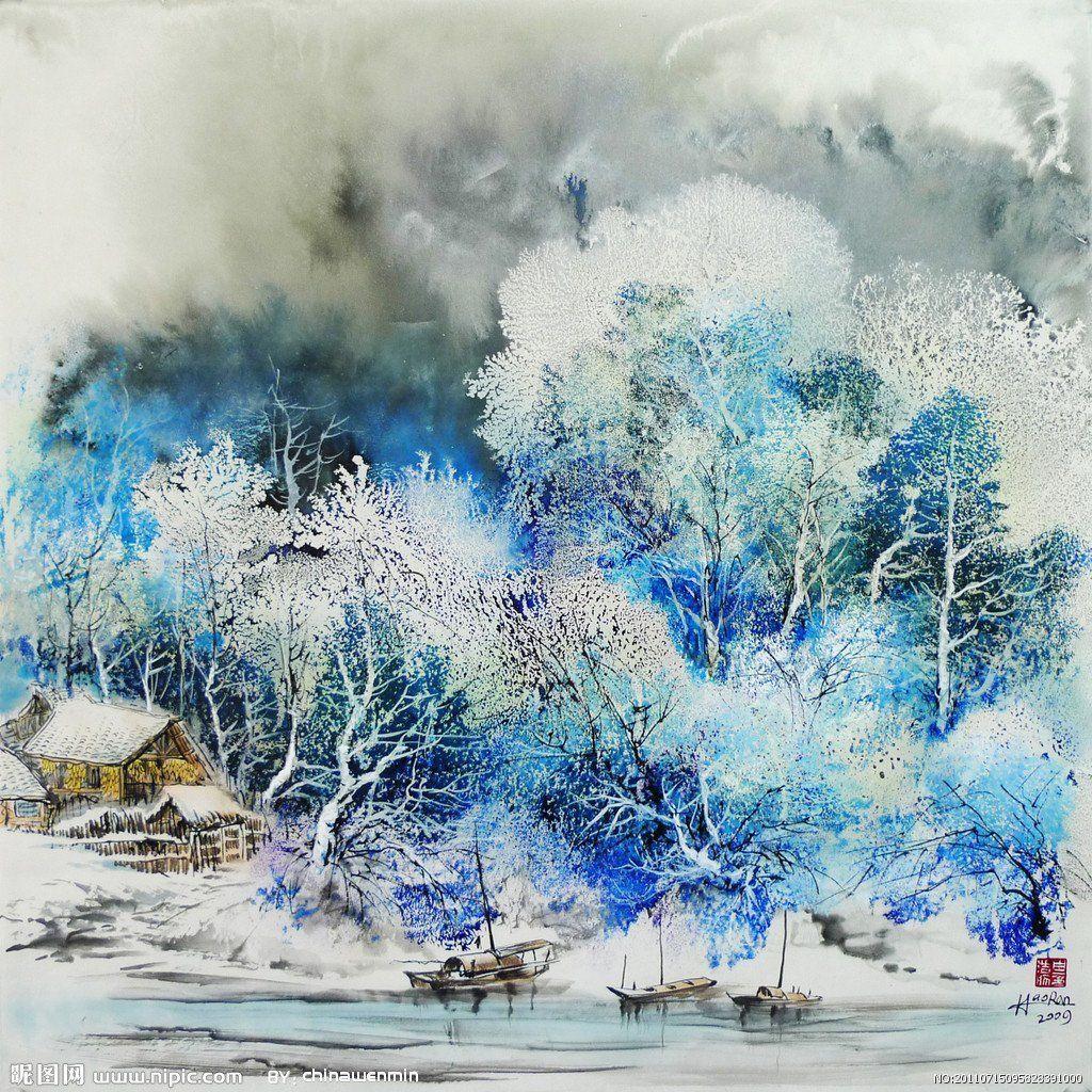 Зима картинки акварелью, дед