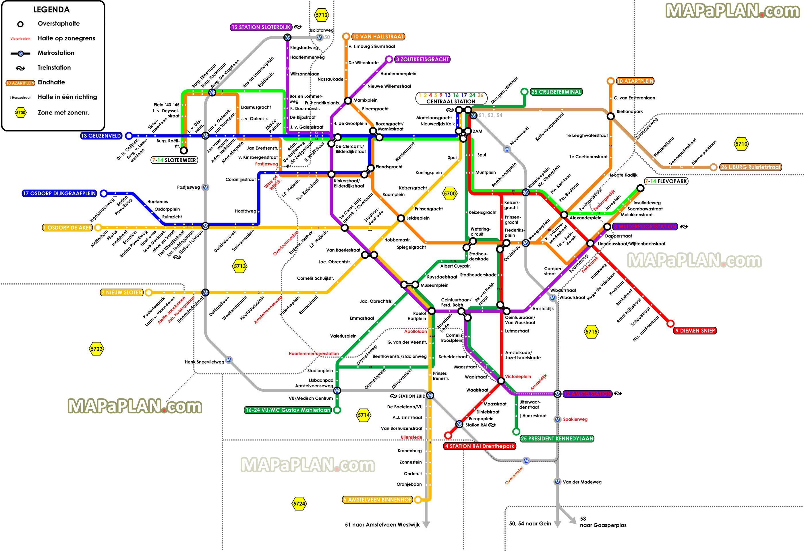 Amsterdam metro map Amsterdam Pinterest