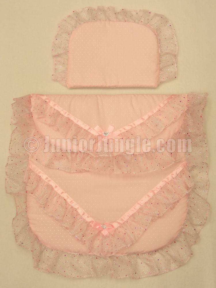 Pram quilt set, pink with pink sparkled trim, £21. | baby ... : dolls pram quilt sets - Adamdwight.com