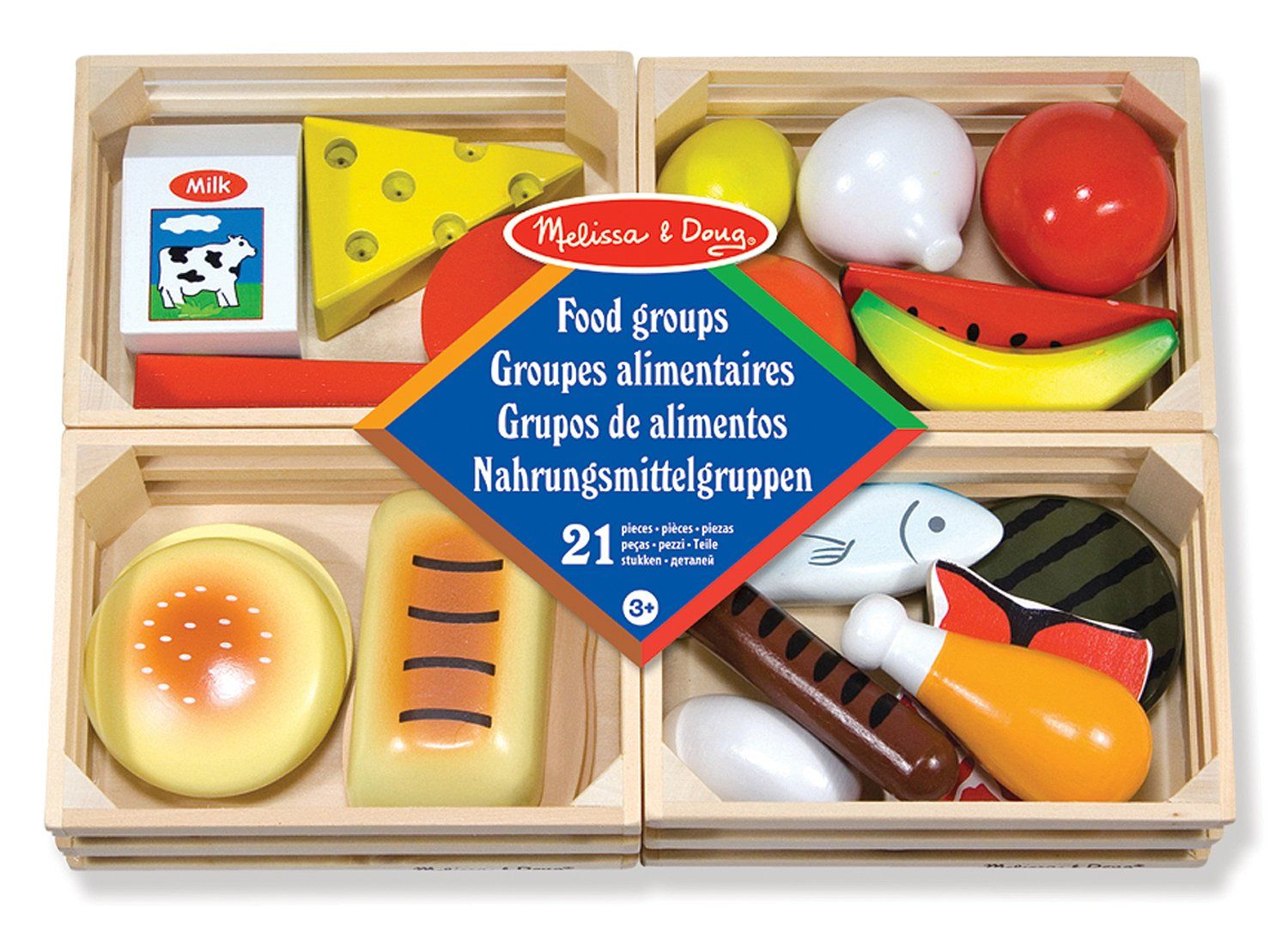 Melissa doug food groups group meals wooden play food