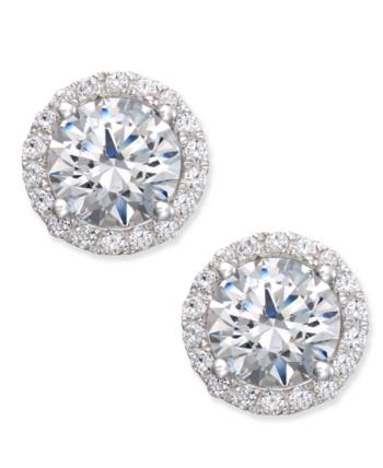 3e4302820 Arabella Swarovski Zirconia Halo Stud Earrings in Sterling Silver, Created  for Macy's - White
