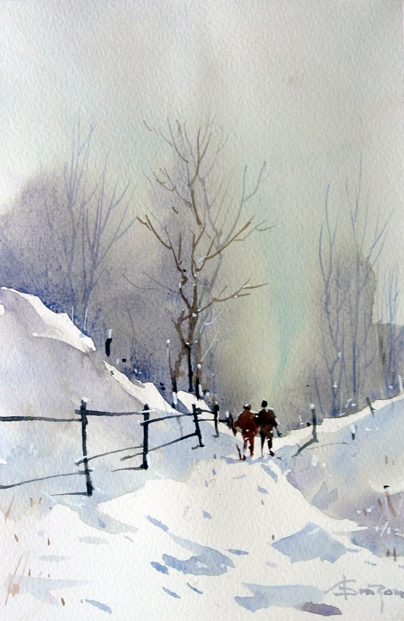 Corneliu Dragan Targoviste Watercolor Winter Watercolor