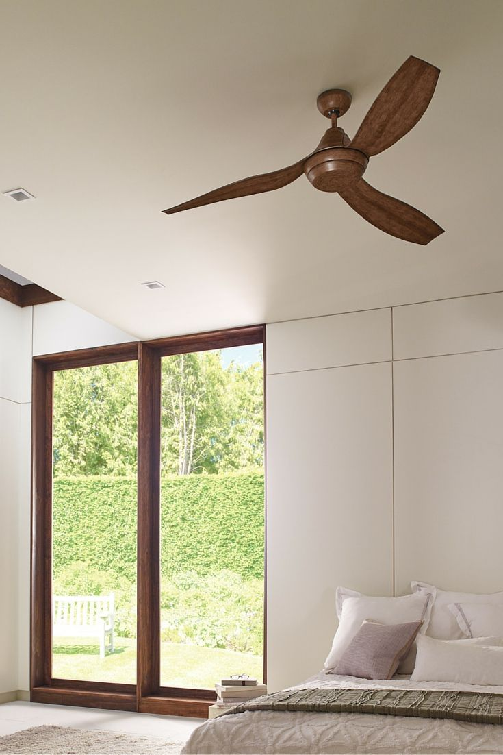 The Unique Curved Blades Of The Modern 56 Inch Avvo Ceiling Fan By Monte Carlo Wrap Around The Motor Housing L