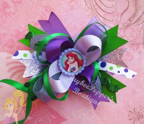 Purple Mermaid Shabby Flower Headband Baby Girl Hair Red Green Bow Hairbow