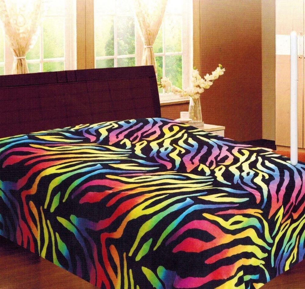 Rainbow Zebra Soft Fleece Blanket Queen Full Animal Print