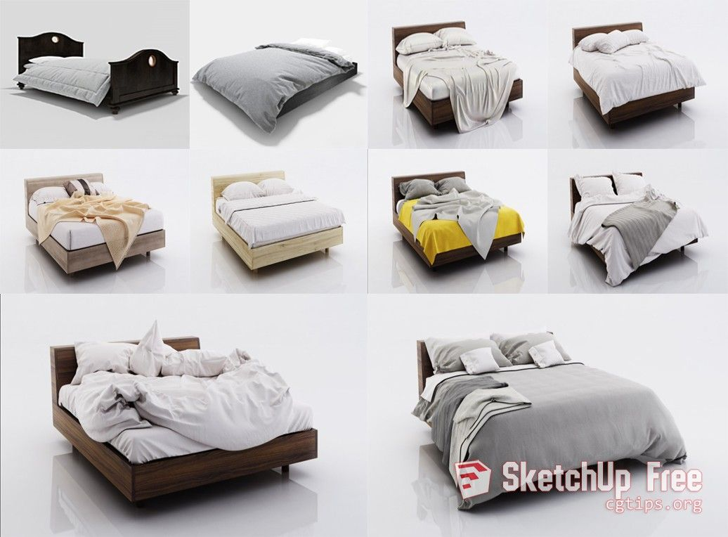1734 Bed Collection Sketchup Model Free Download | Sketchup