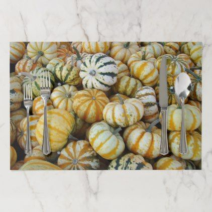 Orange and Green Fall Harvest Gourds Paper Placemat - decor gifts