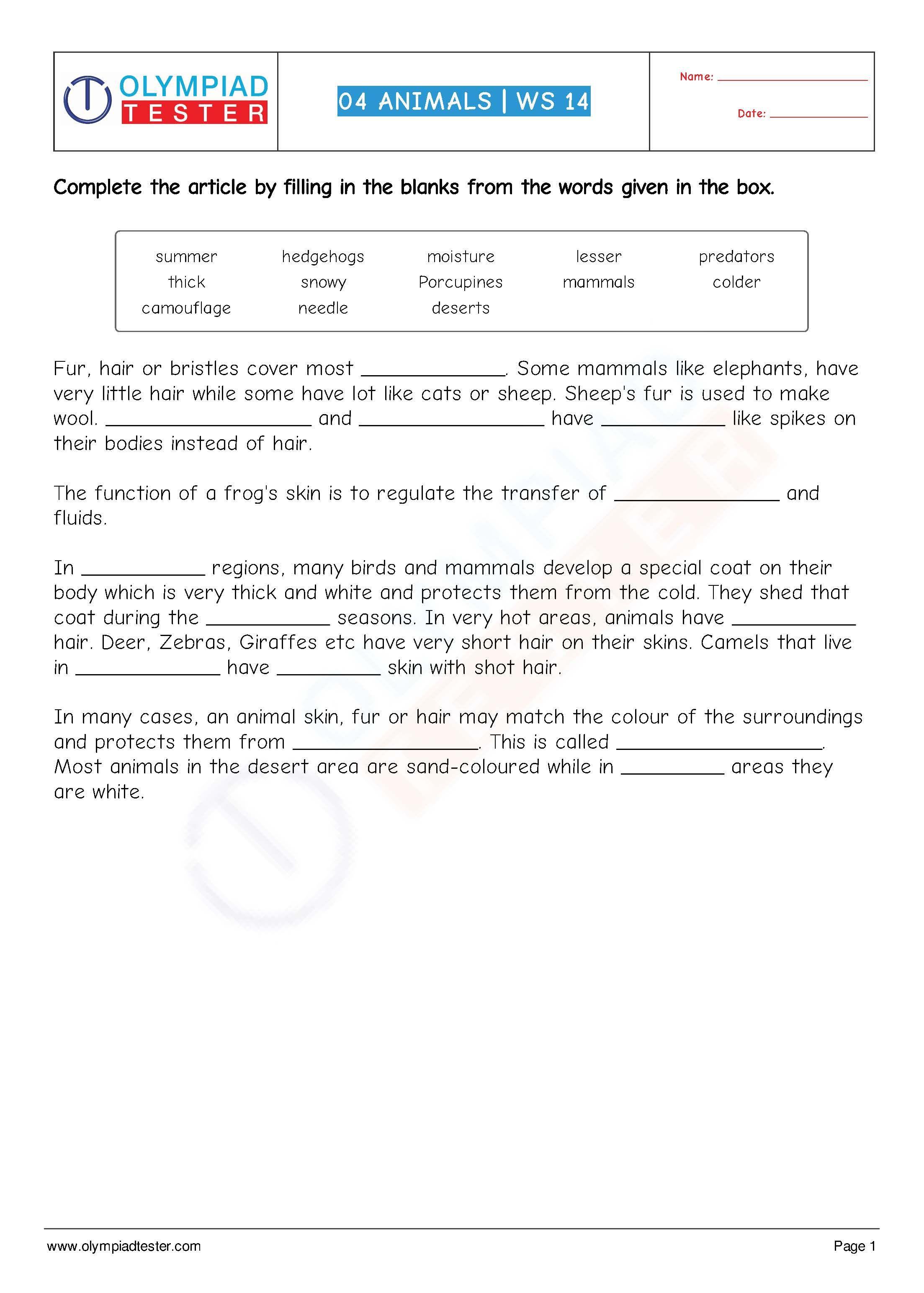 Download This Printable Grade 4 Science Worksheet Cloze