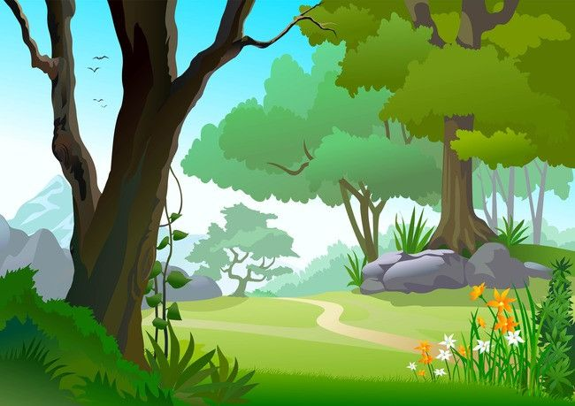 Vector Cartoon Meadow Forest Landscape Background Material