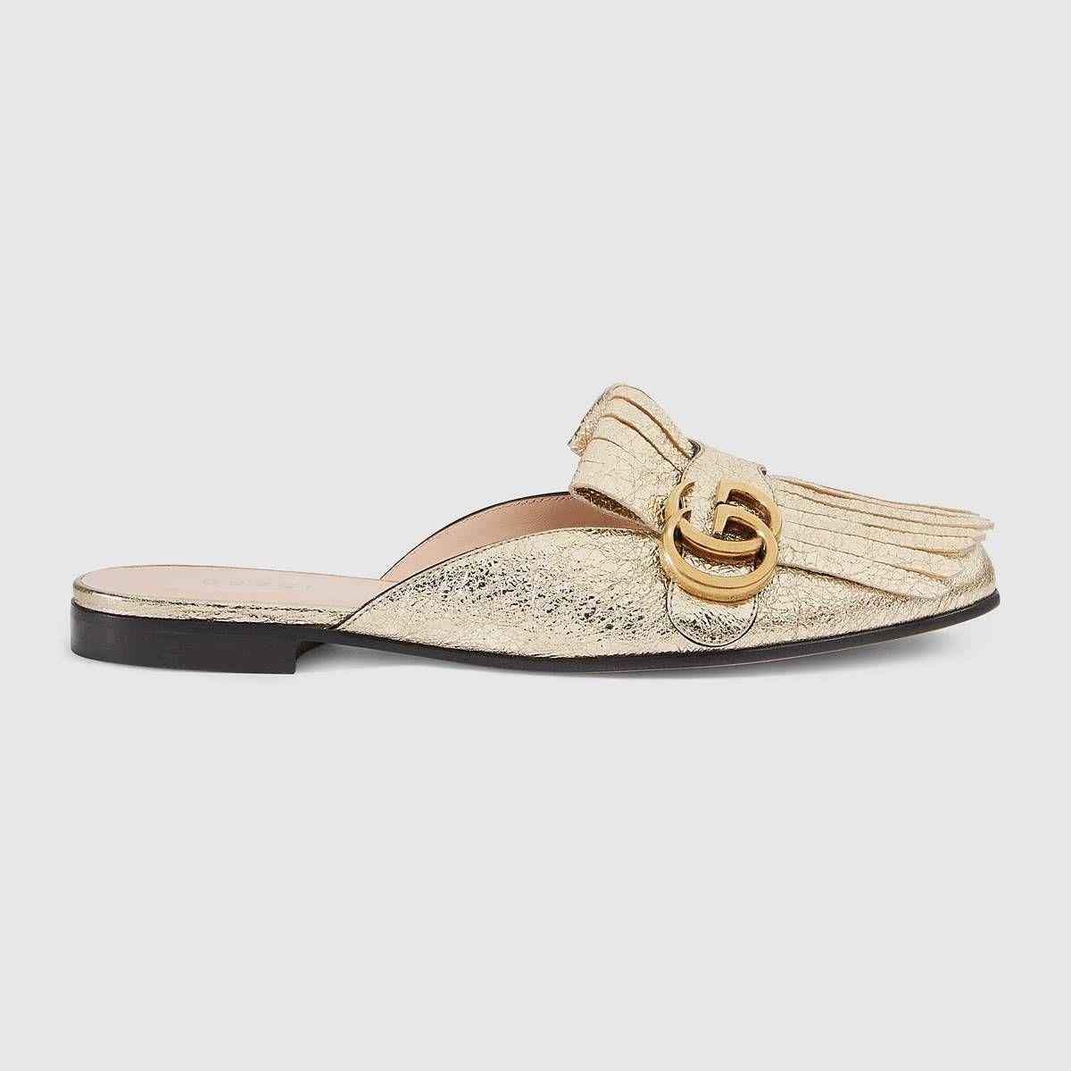 07e0fffe5 Gucci Marmont metallic laminate leather slipper  ad