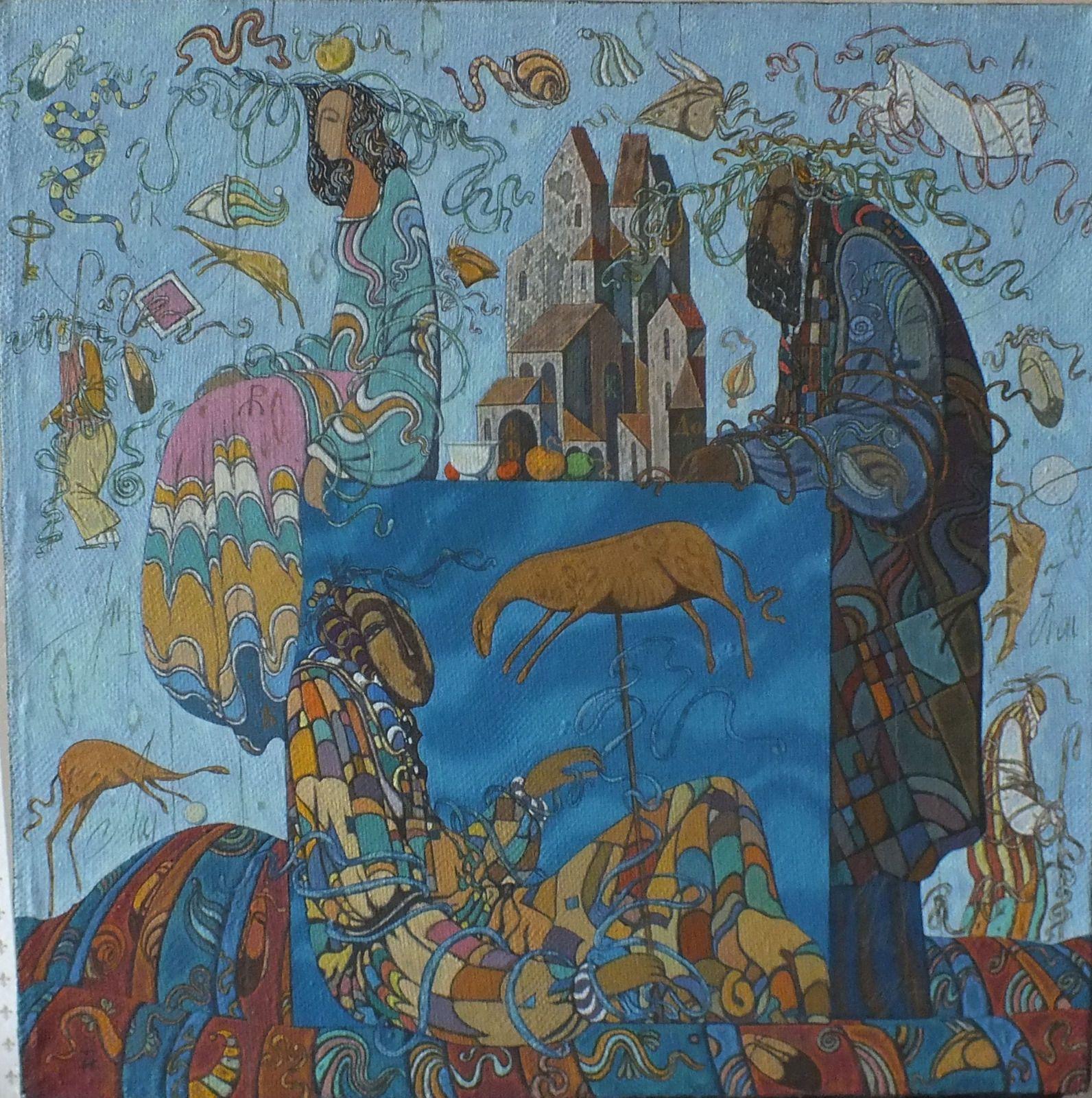 "Ölgemälde Ölbild Leinwand Surrealismus signiert Igor Topilin,,Die Schwermut"" | eBay"