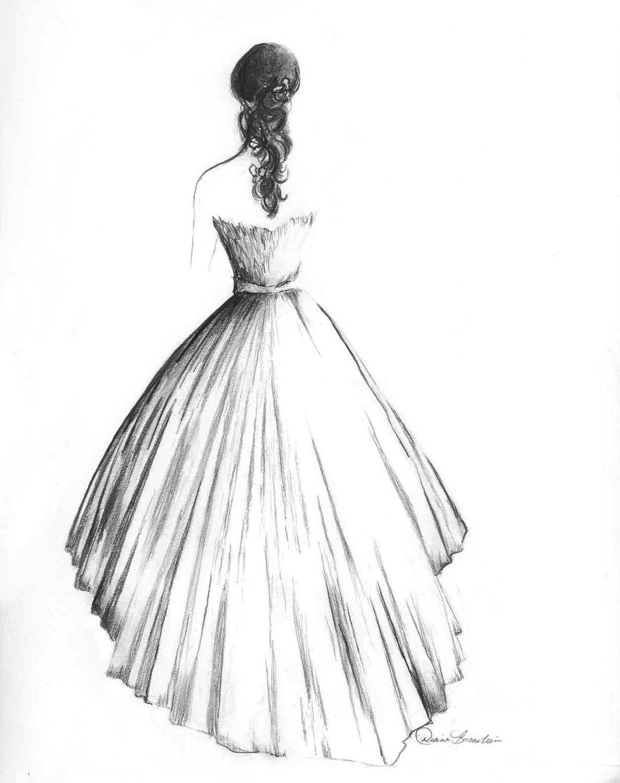 pencil wedding dresses Wedding Dress Portrait in Graphite Back view 00 via Etsy