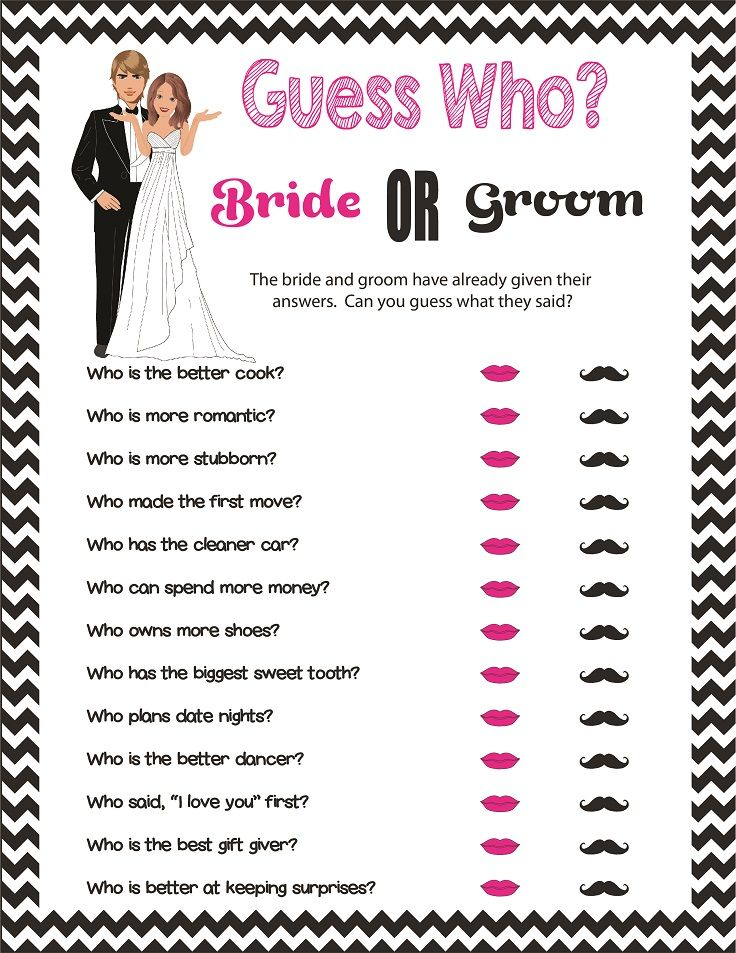 Black and White Guess Who Bridal Shower Game, Couples