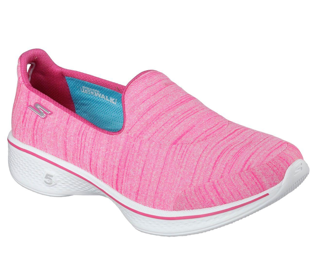 14149 Hot Pink Skechers Shoes Go Walk 4 Women Soft Fabric Slip On