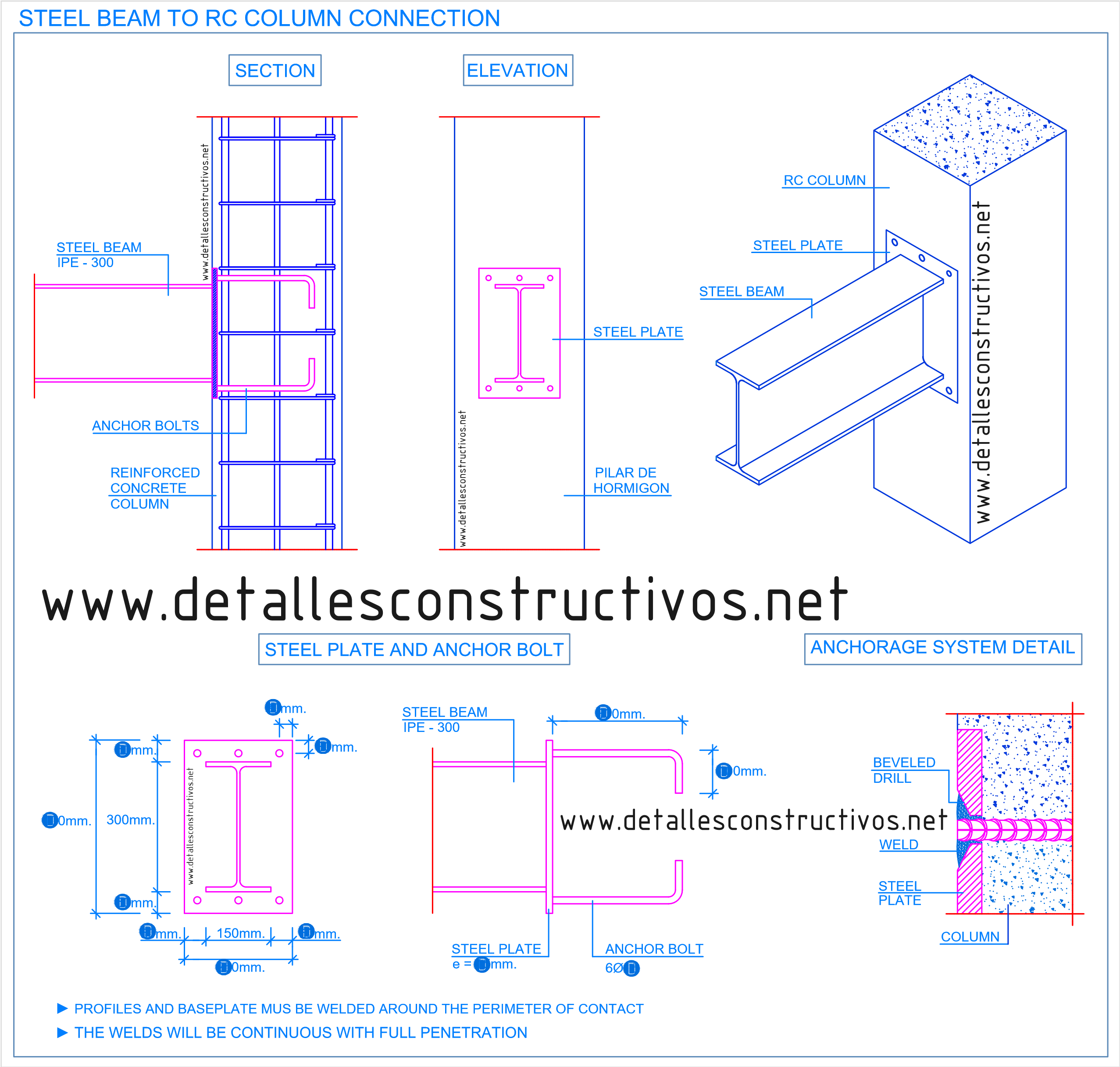 Steel Beam To Concrete Column Connection Details In 2020 Concrete Column Steel Beams Steel Columns