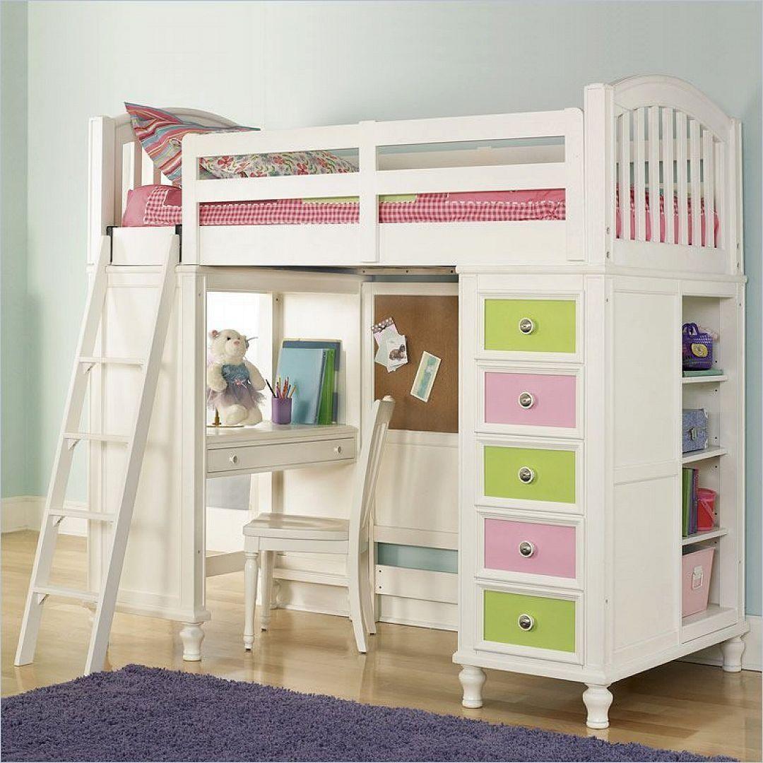 Javin loft bed with desk  Pulaski Unique Loft Bunk Bed with Desk for Girl  Loft Beds  Pinterest