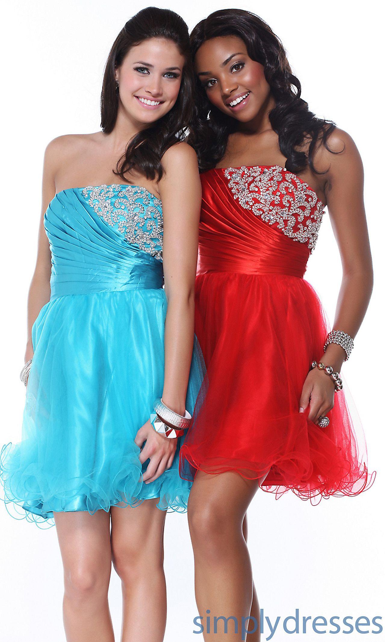 Short Strapless Scala Dress with Ruffle Tulle Overlay Scala-P12015 ...